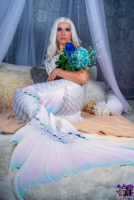 Photo: Rebel Vision Photography | Makeup: Carolina Jean | Completed 2019 | White Pearl and Pastel Tail & Top | Model: Mermaid Nymeria