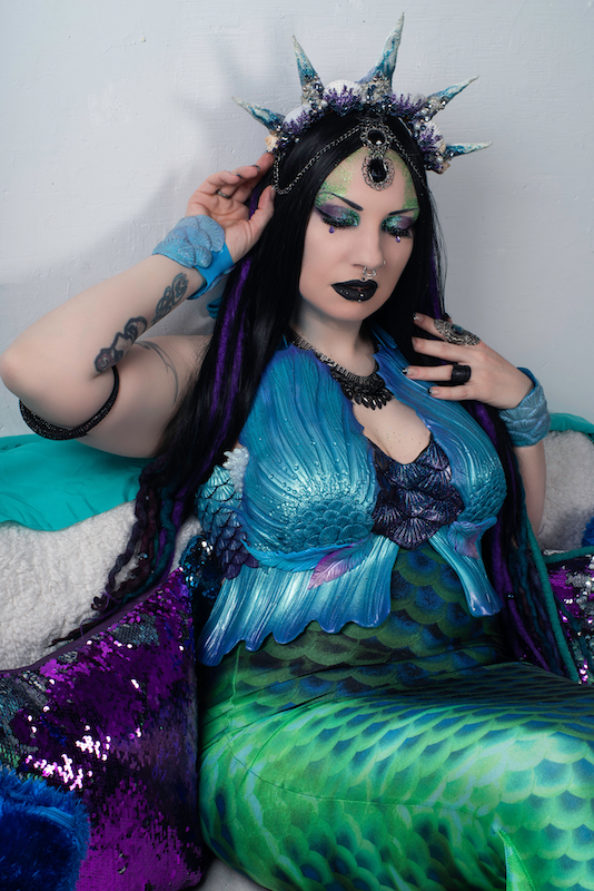 Photographer: Rebel Vision | Model: VoodooDeathKitty | Completed 2020 | Teal and Purple Mermaid Top
