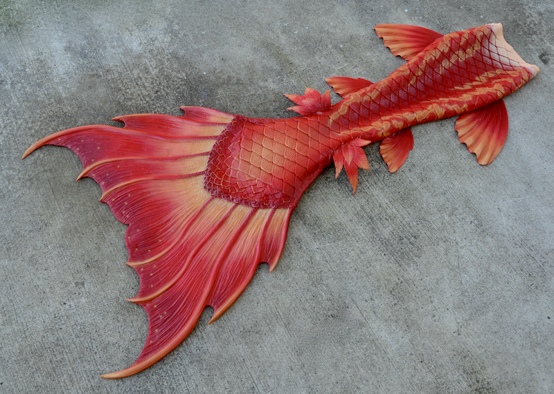 Completed 2020 | Red Phoenix Mermaid Tail | Galatea Hip Fins, Ceto Knee Fins, Feather Ankle Fins | Delphine Fluke